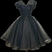 Vintage 1950s Dress//50s Dress//Black//Cocktail Dress//Party Dress//Ferman O'Grady