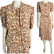 Vintage 1940s Dress//Matching Jacket//40s Dress//Rayon//NOS//Novelty Print//Gorgeous