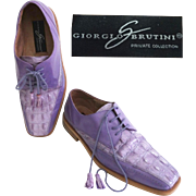 Vintage Men's Shoes//Designer//Purple//Leather//1980s//Disco//Oxford//Giorgio Brutini