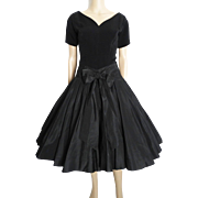 Vintage 1950s Dress//50s Black Dress//Rockabilly//Party Dress//Mad Man//Wedding//New Look//Mod