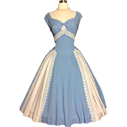 Vintage 1950's Dress//New Look// Full skirt// Rockabilly//Cocktail party//Wedding//Blue