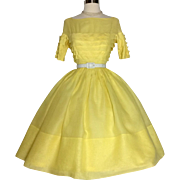 Vintage 1950S Dress// Miss Elliette// Yellow// Rockabilly//New look