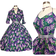 Vintage 1950s Dress Eisenberg Original // Halter Dress//Matching Bolero// Unworn// Floral dress// Super full circle skirt