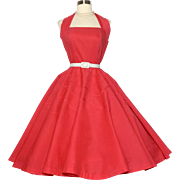 Vintage 1950s Halter Dress// Red//Pinup//Cotton Sundress//Full skirt