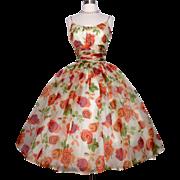 Vintage 1950s Dress// Saks Fifth Avenue// New Look//Unworn// Silk// Very Full Skirt //Shelf bust// Retro//Party Dress