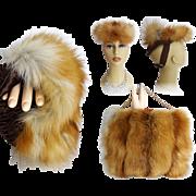 Vintage Fox Fur Muff//Purse//Matching Hat//Red Fox Fur//1930s//Fox Fur Purse//