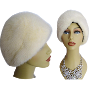 Vintage Mink Hat//White Mink//Plush//Mink Hat//1960s Hat//