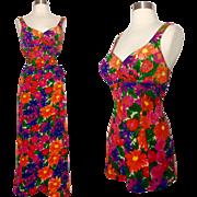 Vintage 1950s Swimsuit//Matching Sarong Skirt//50s Bathing Suit// Jantzen//