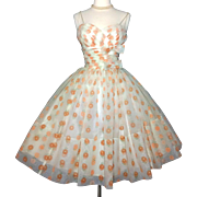 Vintage 1950s Dress//Shelf Bust//50s Party Dress//Full Skirt Dress