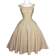 Vintage 1950s Dress//Rhinestones//Full Skirt Dress//50s Dress//Linen