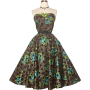Vintage 1950s Dress//50s Strapless Dress//Floral//Rockabilly//Full Circle Dress//New Look//Mod//Garden Party//50s Party Dress