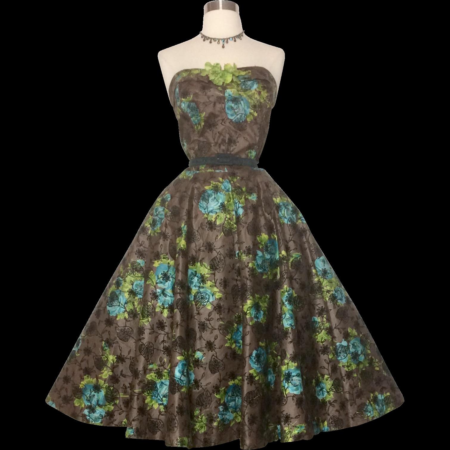 Vintage 1950s Dress//50s Strapless Dress//Floral//Rockabilly//Full ...