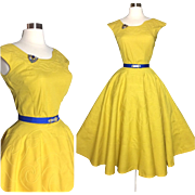 Vintage 1950s Dress//50s Skirt//Matching Top//Set//Rockabilly//Full Circle//New Look//Mod//Garden Party//Coronet Sportswear of Miami