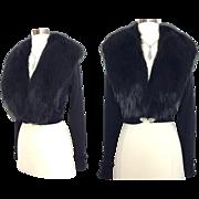 1950s Black Fox Fur//Cardigan Sweater//Cashmere//Regalia Furs//Fox Fur Collar//50s