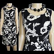 Vintage 1950s Dress//Rhinestones//50s dress// Black//Floral//Rockabilly//New Look//Mod//Wiggle//Party Dress