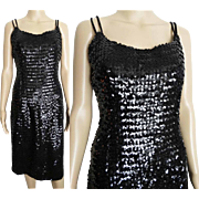Vintage 1950s Dress//50s Dress//Black Sequins//Cocktail Dress//New Look//Mod//Wiggle//Party Dress
