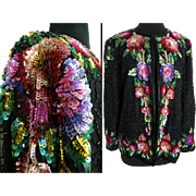 Vintage Sequin Jacket //Seed Beads//1980s//Gorgeous//1980s Sequin Jacket//Great Sequin Graphics//Laurence Kazar