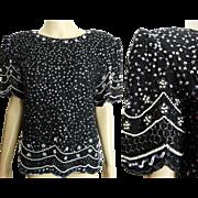 Vintage Sequin Top//1980s//Black//Sequins//Pearls//Designer//NOS//80 Blouse//Laurance Kazar//New York