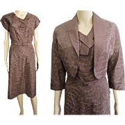 Vintage 1940s Dress//Gloria Swanson//40s Dress//Matching Bolero Jacket//Embroidered