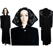 Vintage 1930s Coat//Opera Coat//Black Velvet//Sequin Hood//Art Deco//30s Opera Coat//Art Deco