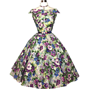 RESERVED FOR PAM Vintage 1950s Dress//50s Dress//Floral//Femme Fatale//Couture//New Look//Mod//Full Circle Skirt