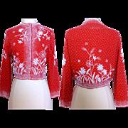 Vintage 1950s Beaded Sweater//50s Designer//Gene Shelly's//Red//Lined//White beads