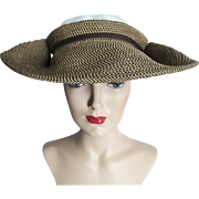 Vintage 1930s Hat//30s Hat//Old Hollywood//Couture//Brown//Creme