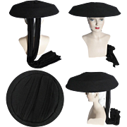 Vintage 1940s Hat//40s Hat//Large Brim hat//Old Hollywood//Black//Draped Black Silk//Couture