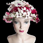 Vintage 1950s Hat //50s Hat//Floral//Designer// Femme Fatale//Mad Men//Rockabilly//