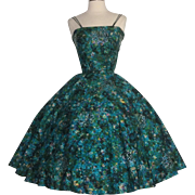 Vintage 1950s Dress//50s Dress//Party Dress//Sequins//Vibrant Colors//Full Circle Dress//XS//Mod//New Look//Rockabilly