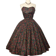 Vintage 1950s Dress//Strapless//Rhinestones//Full Circle Dress//Mod//New Look//Rockabilly//Party Dress