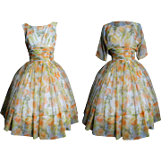 Vintage 1950s Dress//50s Dress//Floral//Matching Chiffon Jacket//Femme Fatale//Couture//New Look//Mod//Party Dress