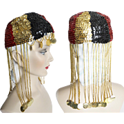 Vintage 1960s Hat//Sequins//Beads// Femme Fatale//60s Hat// Couture//Stunning
