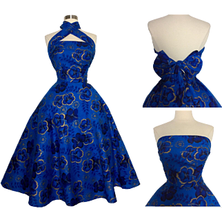 Vintage 1950s Dress//50s Hawaiian Dress// Royal Blue & Metallic Gold//Multi-Way Straps//New Look//Mod//Sundress/Party Dress//