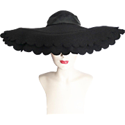 Vintage 1940s Hat//40s Hat//Scalloped Brim//Black//Wide Brim Hat//Black//Old Hollywood