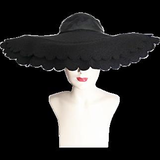 Vintage 1940s Hat//40s Hat//Scalloped Brim//Black//Wide Brim Hat//Black//Old Hollywood
