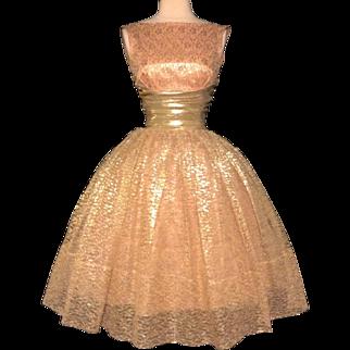 Vintage 1950s Dress//50s Party Dress//Gold Lace//Cocktail Dress//Mod//New Look//Rockabilly//Femme Fatale//Party Dress