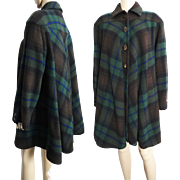 Vintage 1970s Coat//Valentino//Plaid// 70s Coat//Designer//Fall Coat//Couture//