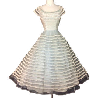 Vintage 1950s Dress//50s Party Dress//Tulle//Lace//Cocktail Dress//Mod//New Look//Rockabilly