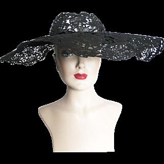 Vintage 1940s Hat//40s Hat//Large Brim hat//Old Hollywood//Black//Strouss Hirshberg