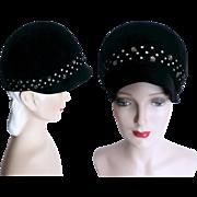 Vintage 1960s Hat//Black//Designer Howard Hodge//Prong Set Rhinestones//Garden Party// Mad Men// Rockabilly// Femme Fatale//60s Hat// Couture