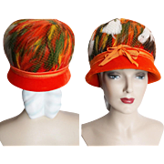 Vintage 1950s Hat // Feathered Hat//Original Designer//Fatale// Couture// Mad Man// Rockabilly//New Look//Mod//Orange//Fibrant Colors