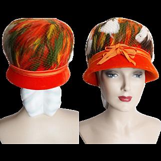 Vintage 1950s Hat // Feathered Hat//Original Designer//Fatale// Couture// Mad Man// Rockabilly//New Look//Mod//Orange//Fibrant Colors