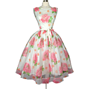 Vintage 1950s Dress//50 Dress//Cabbage Roses//New Look//Rockabilly//Femme Fatale//Wedding//Floral//Mod//Jr. Theme