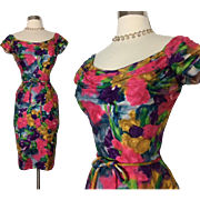 Vintage 1950s Dress//Floral//I Magnin//50s Dress//Bold Beautiful Colors