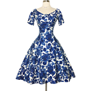 Vintage 1950s Dress//50 Dress//Floral//Gigi Young//Rockabilly//Full Circle Dress//New Look//Mod//Garden Party//50s Party Dress