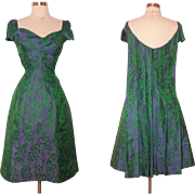 Vintage 1950s Dress//50s Dress// Purple//Green//Neiman Marcus//Brocade//New Look//Mod//Wiggle//Cocktail Dress//Rockabilly