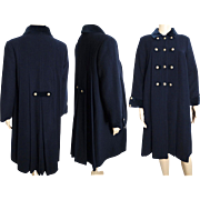 Vintage 1950s Coat//Navy Blue//Rothschild//Double Breasted//50s coat//Swing Coat//Pleated Back