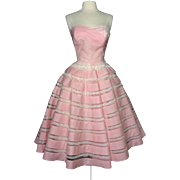 Vintage 1950s Dress//Strapless//Pink//Full Circle Dress//Mod//New Look//Rockabilly//Party Dress