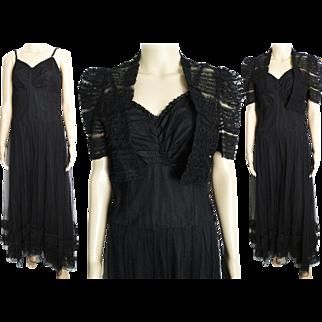 Vintage 1930s Dress//30s Dress//Evening Gown//Bolero Jacket//Old Hollywood//Art Deco//Art Nouveau//Best & Co